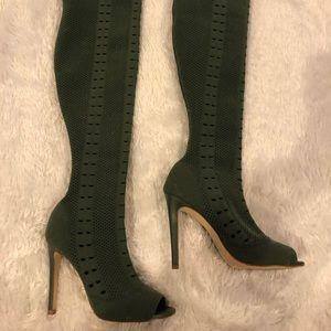 Thigh high olive green stretch heels